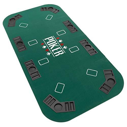 Faltbare Tischauflage Casino Pokertisch Pokerauflage Holzverstärkt klappbar 180 x 90 cm Chiptray Getränkehalter Black Jack Texas Holdem