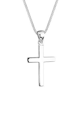 Elli Damen Schmuck Halskette Kette mit Anhänger Kreuz Symbol Basic Religion Glaube Basic Silber 925 Länge 45 cm