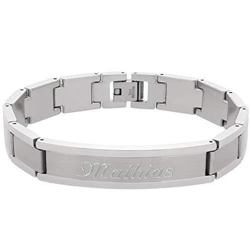 Schmuck-Pur Massives Edelstahl Herren-Armband mit Wunsch-Gravur 20 cm