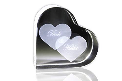 VIP-LASER GlasHERZ L mit zwei großen Herzen und Deinen Namen graviert. Wir gravieren Deine Wunschnamen kostenlos ein - das ideale Partner Liebesgeschenk Geschenk zum Valentinstag, Weihnachten , Jahrestag oder zur Verlobung! Partnergeschenk
