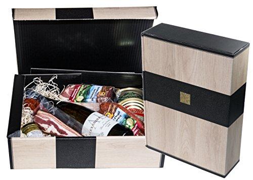"""Schwarzwald Metzgerei - Geschenkset\""""Vesper\"""" mit verschiedenen Wurtsspezialitäten, einem Gourmet-Senf und hervorragenden Weißwein - 8-teilig"""