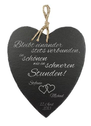 Casa Vivente Schieferherz mit Gravur zur Hochzeit, Motiv Herzen, Personalisiert mit Namen und Datum, Hochzeitsgeschenke für Brautpaar