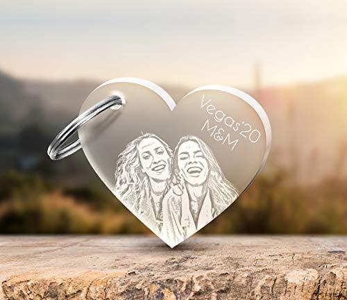 Schlüsselanhänger aus Acryl mit Gravur Fotogravur Herz Gravur Partner-Liebes-Geschenk zum Valentinstag Geschenkidee Valentinstaggeschenke für Freund Freundin Frauen Männer Fotogravur Foto
