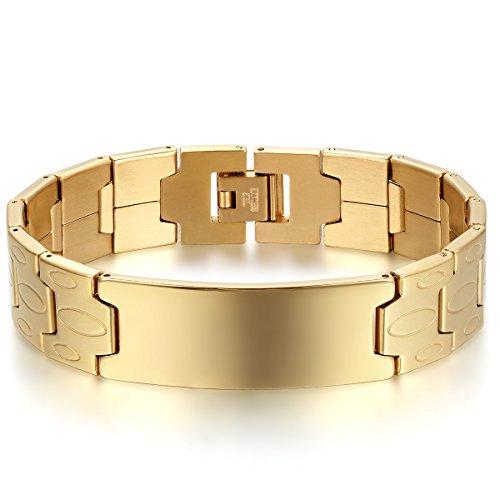 JewelryWe Schmuck Herren Armband, Charm 16MM große Breite Glänzend Poliert Link Armreif Armkette, Edelstahl, Gold, mit kostenlos Gravur
