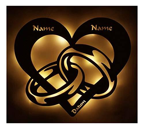 Personalisiert 3d Holz Led Licht Schlaf-Zimmer Lampe Motiv Design Herz-en Ring-e Partner Geschenk-e für-s mit Name-n Datum zum Jahrestag Hochzeit Verlobung Ich liebe dich unendlich Männer Frauen