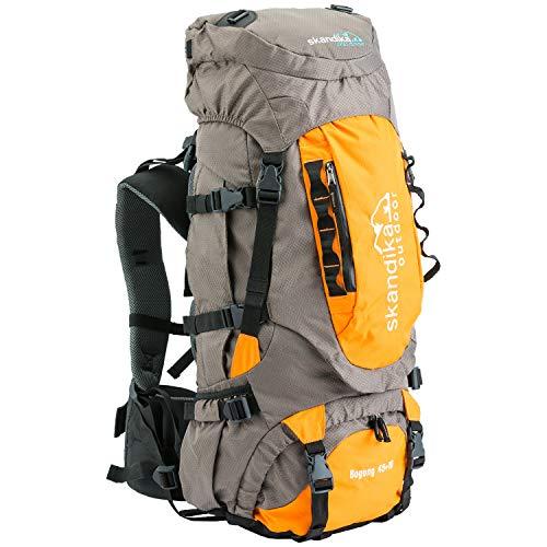 skandika Bogong Trekking-Rucksack 45/65 Liter wasserdicht mit Regenhülle, Hüftgurt, Signalpfeife (Bogong 45+10 (grau/orange))