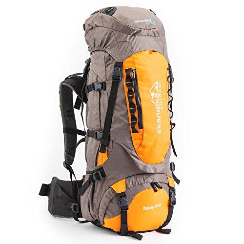 skandika Bogong Trekking-Rucksack 45/65 Liter wasserdicht mit Regenhülle, Hüftgurt, Signalpfeife (Bogong 65+10 (grau/orange))