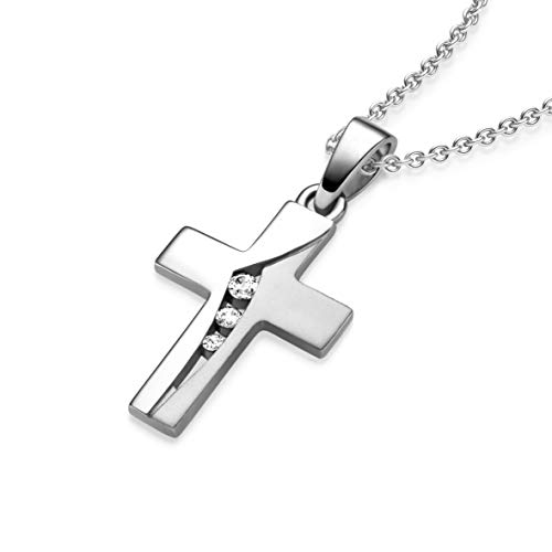 Kreuz Kette Silber 925 mit Zirkonia + inkl. Luxusetui + echt Silber Kreuzkette mit Stein wie Diamant Kreuz-Anhänger Kommunion Konfirmation Taufe Taufkette Mädchen Kinder Baby kleine Geschenke FF429