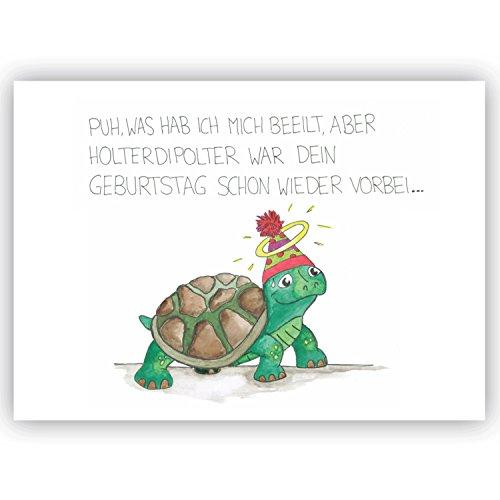 """Postkarte Schildkröte\""""Puh was hab ich mich beeilt\"""", Nachträglich, Geburtstag nachträglich, Freundschaft, Glückwunsch, Glückwunsch nachträglich, Humor lustige Karte"""
