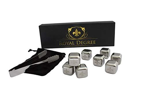 Royal Degree Whisky Set - Premium Edelstahl-Eiswürfel ALS Geschenk-Set oder Bar-Zubehör - Whisky, Wein und mehr kühlen ohne verwässern