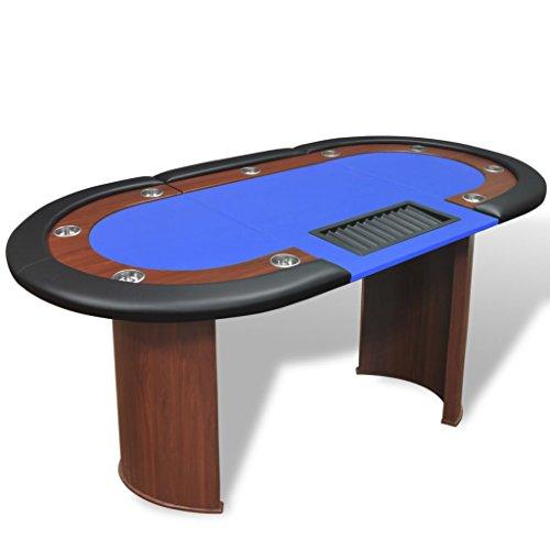 vidaXL Pokertisch für 10 Spieler mit Dealerbereich und Chipablage Blau
