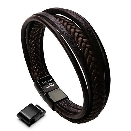 murtoo Herren Armband Edelstahl Echtleder Armband schwarz|braun geflochten mit Magnet Verschluss(22cm) (braun)