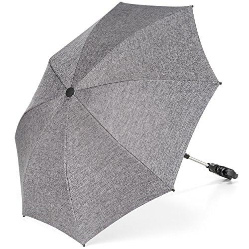 Universal Sonnenschirm Sonnenschutz für Kinderwagen & Buggy - UV Schutz 50+/73 cm Durchmesser/biegsam/Universalhalterung für Rund- und Ovalrohre - Melange Grau