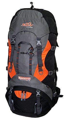Tashev Outdoors Kentaurus Trekkingrucksack Wanderrucksack Damen Herren Backpacker Rucksack groß 60l Plus 10l Schwarz & Grau & Orange (Hergestellt in EU)