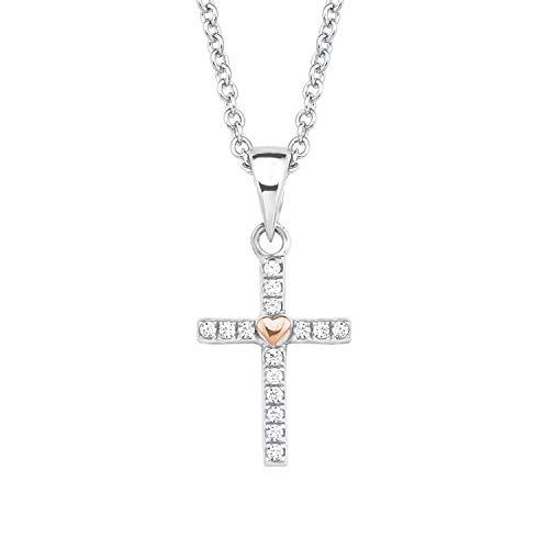 S.Oliver Kinder Kette mit Anhänger Kreuz Herz 925 Sterling Silber rhodiniert/rosévergoldet Zirkonia 37+3 cm weiß