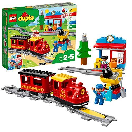 LEGO 10874 DUPLO Dampfeisenbahn, Spielzeugeisenbahn mit Licht & Geräuschen für Kleinkinder, batteriebetriebenes Push & Go Spielzeug für Kinder im Alter von 2 bis 5 Jahren