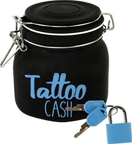 """Witzige Spardose mit Schloss \""""Tattoo Cash\"""" aus Glas in schwarz"""