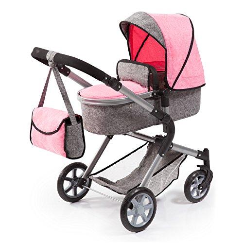 Bayer Design 18125AA Puppenwagen City Neo mit Wickeltasche und Einkaufskorb, umwandelbar in einen Sportwagen, höhenverstellbar, modernes Design, rosa, grau