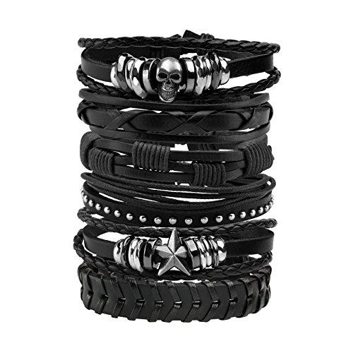 MILAKOO 6 Stück Lederarmband schwarz braun geflochten breites Armband Frauen Männer Punk Schmuck Schädel
