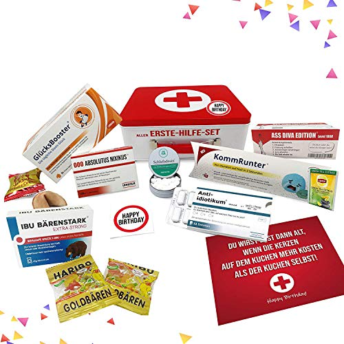 Geburtstagsgeschenk - Aller Erste Hilfe Set Geschenk-Box, witziger Sanikasten   Das Original   Scherzartikel zum Geburtstag (Deutsch)