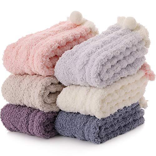 EBMORE Damen Kuschelsocken Flauschige Socken Warme Wintersocken Weiche Haussocken Geschenke Weihnachtssocken (Mehrfarbig (6 Paar))