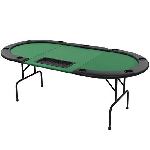 vidaXL Pokertisch 9-Spieler 3-Fach Klappbar Oval Grün Casino Poker Tisch