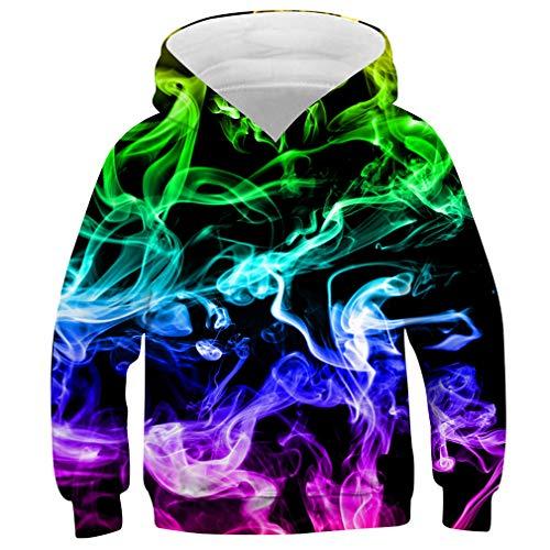 Idgreatim Jungen Christmas Hoodies 3D Rundhalsausschnitt Personalisierter Pullover Stilvoller Unisex Pullover Hoodies Tops XL