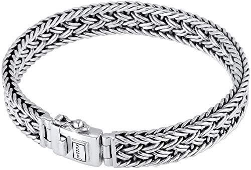 Kuzzoi Buddha Silber-Armband für Herren, handgefertigtes Königskette-Armband aus echten massiven 925 Sterling Silber, Luxus Herren-Armband Gravur, 10mm breit, 38g schwer 0210480118_17