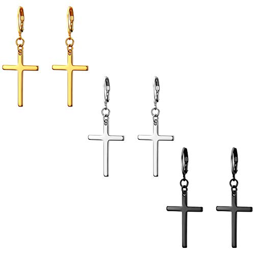 JewelryWe Schmuck 3 Paar Unisex Creolen, Edelstahl Klassisches Kreuz Ohrringe Ohrstecker Ohrhänger Ohr-Piercing für Herren Damen, Schwarz Gold Silber