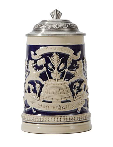 Amoy-Art Bierkrug Bierkrüge Deutschland Bierseidel Steinkrüge mit Deckel German Beer Stein Mug Bayernwappen Seidel Geschenk Giftbox 0.5 Litre