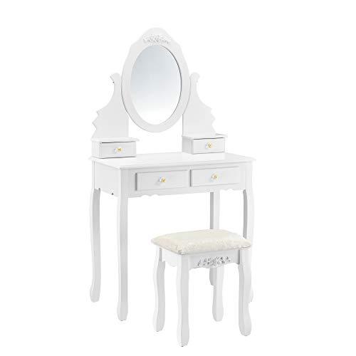 [en.casa] Schminktisch \'Limerick\' mit Spiegel Hocker Frisierkommode Frisiertisch Kosmetik Weiß Messingfarbe