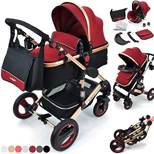 Daliya Bambimo 3 in 1 Kinderwagen - Kombikinderwagen Riesenset 14-Teilig incl. Babywanne & Buggy & Auto-Babyschale - Alu-Rahmen/Voll-Gummireifen - Wickeltasche/Regenschutz/Kindertisch in Bordeaux-Rot
