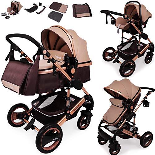 3 in1 Kinderwagen Kombikinderwagen Bambimo Buggy & Babyschale Farben Braun - Gold incl. Wickeltasche - Regenschutz - Ablage Tisch.