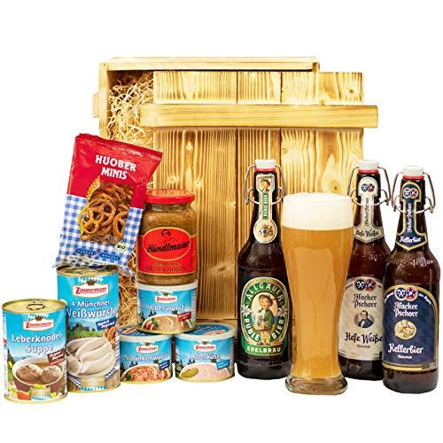 Geschenkset München   Großer Bayern Geschenkkorb mit Bier, Bierglas & bayrischen Spezialitäten   Bayerisches Geschenk Set gefüllt für Frauen & Männer   Typisch deutscher Wurst Präsentkorb