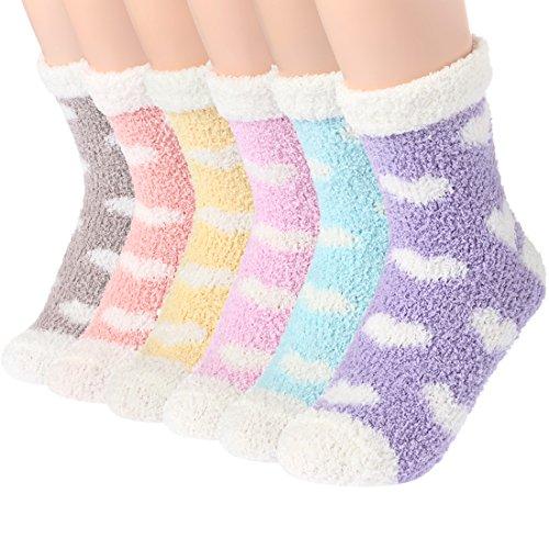 Toes Home Cartoon Kuschel Socken Damen - 6 Paar Super Weich Flauschige Warme Winter Lässige Zuhause Socken für Mädchen