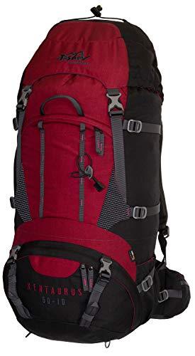 Tashev Outdoors Kentaurus Trekkingrucksack Wanderrucksack Damen Herren Backpacker Rucksack groß 60l Plus 10l (Hergestellt in EU) (Rot & Schwarz)