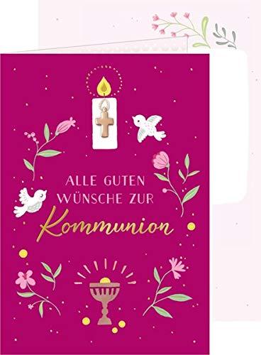 Grußkarte - Alle guten Wünsche zur Kommunion (beere): mit Kreuz-Anhänger