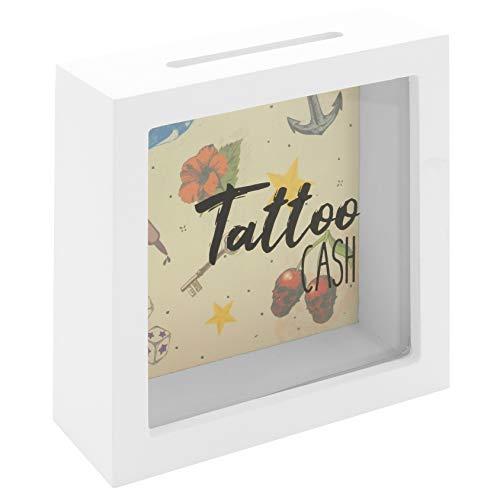 MIK Funshopping Spardose Tattoo Cash aus Holz mit Sichtfenster - Spare Geld für Deine Tätowierungen (Schwarzes Gehäuse mit farbigen Tattoo-Motiven)