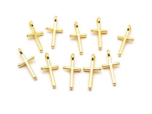 Vintageparts Anhänger Kreuz in goldfarben 17mm 10 Stück Schmuck selber basteln Kreuzanhänger Schmuckanhänger Kettenanhänger Metallanhänger Damen Mädchen Herren