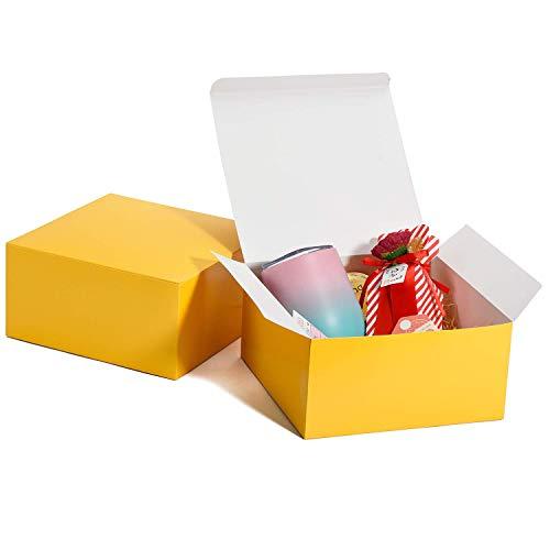 HOUSE DAY 10 Stück Geschenkboxen 20x20x10cm Geschenkboxen für Brautjungfern Kraft Geschenkboxen mit Deckel zum Basteln, Cupcake-Boxen (Gelb)