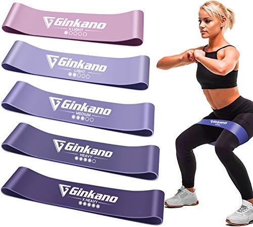 Haquno Widerstandsband [5 Sätze] Fitnessband Theraband, mit Deutscher Übungsanleitung und Taschenwiderstandsband Gymnastikband aus Naturlatex, zum Trainieren von Muskel-Pilates-Yoga usw. lila