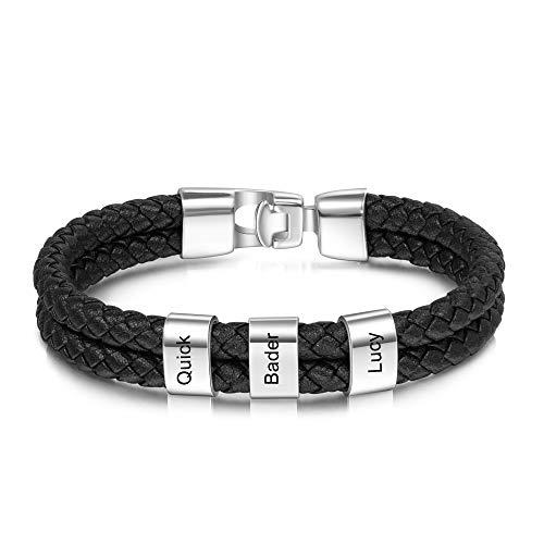 Personalisierte Armband mit Namen Gravur Edelstahl Geflochtenes Herren Armband Geschenk für Jubiläum Valentinstag Vatertag (silber)