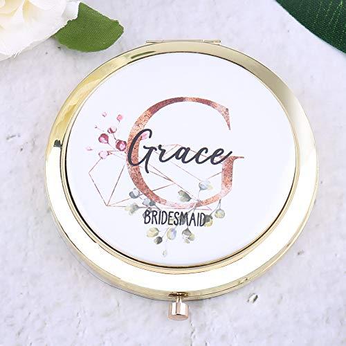 Personalisierbarer Taschenspiegel für Make-Up-Geldbörse mit Initialen Namen Titel Brautjungfer Junggesellinnenabschied Geschenk