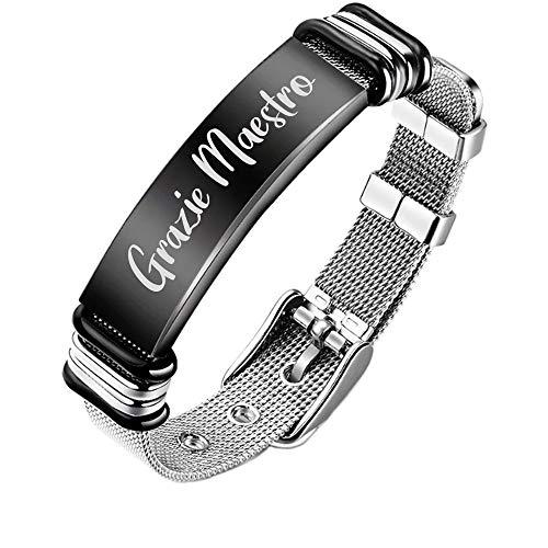 Beloved Herren-Armband aus Stahl mit halbstarrem Uhrenarmband und Schnallenverschluss, Länge verstellbar, schwarzes Plättchen und Gravur Lehrer-Edition