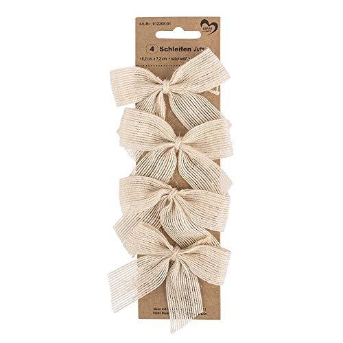 Ideen mit Herz Geschenk-Schleifen aus Jute   selbstklebend   Ideal zum Schmücken und Verzieren von Geschenken zu Weihnachten, Geburtstag, Hochzeit (8,2 x 7,2 cm   naturweiß   4 Stück)