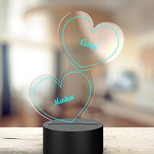 Personalisierte Herz-Leuchte mit Namensgravur   LED-Herz mit Namen und Farb-Lichtern als Geschenk-Idee   LED-Lampe mit Gravur  Deko Wohnzimmer   7 Farben   Geschenk