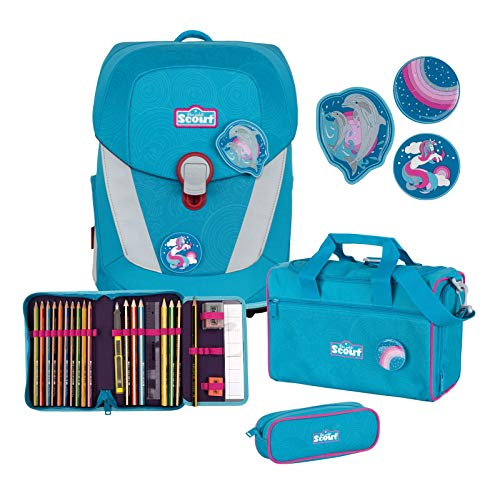 Scout Sunny II Schulranzen Set 4 tlg. mit Funny Snaps Dolphins