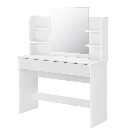 [en.casa] Schminktisch EDA mit Spiegel 140 x 108 x 40 cm Frisierkommode mit Schublade Weiß