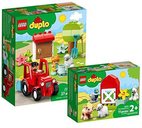 Collectix Lego DUPLO Set - Traktor und Tierpflege 10950 + Tierpflege auf dem Bauernhof 10949, Geschenkset ab 2 Jahren
