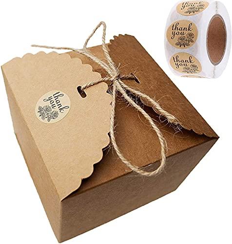 Geschenkbox Kraftpapier, Weihnachtsgeschenkbox 10 Stk für Brautjungfern Kraft Geschenkboxen mit 500stk Thank You Geschenkaufkleber und Jute Schnur 5M für Geschenke, Party, Geburtstag